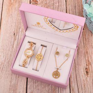 Women Quartz Watch Set Crystal Bracelet Watch Female Jewelry Set 4 Pcs Bracelet Necklace Earring Watches Lady's Wife Mom Gifts J1205