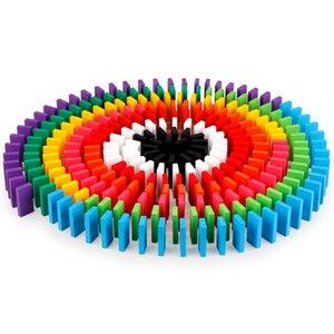 7 색 도미노 장난감 나무 퍼즐 도미노 블록 장난감 논리 개발 뜨거운 판매 교육 완구 아이의 선물