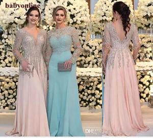 Luchadoras de cristal de lentejuelas de cristal de la lucha de la novia Vestidos de novia Mangas largas con cuello en V cuello rosa más tamaño FORMA FORMA FORMA GOWS BA7868