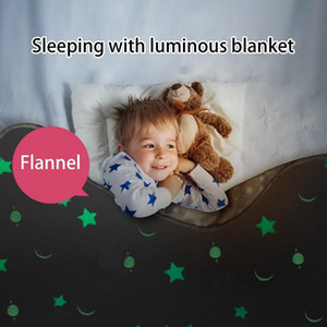 Luminous Blanket Glow in the Dark Fleece Blankets for Beds Decoration Star Moon Plush Sofa Throw Blanket Christmas Birthday Gift