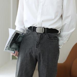 mmen's automatic buckle youth student versatile pants jeans casual Canvas belt fashion insk