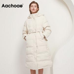 Aachoae Women 90% White Duck Down Long Coats With Belt 2020 Winter Thick Warm Hooded Coat Parka Female Outwear Down Jacket Y1112