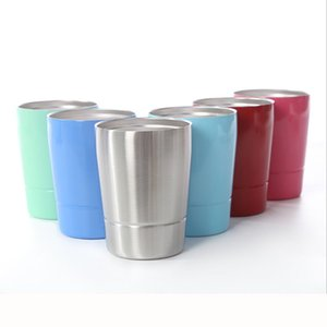 9oz double wall stainless steel kids mugs milk coffee cup stemless wine glasses outdoor water cups with straws