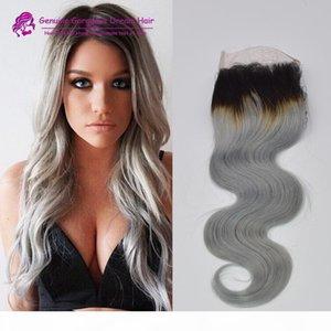 """4 * 4Inch Menschliches Haar Brasilianische Körperwelle 1b Grau Grey Human Hair Top Verschluss gebleichter Knoten für charmante Frauen 8 """"-20"""""""