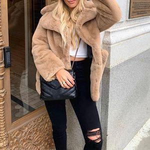 Fashionable camel women's fur coat high street elegant long sleeve jacket retro lapel pocket warm fur winter coat 2020