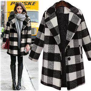 YICIYA long Plaid jacket women sui't set coat winter 2020 plus size 4xl 5xl outerwear large oversized ladies Cashmere clothes