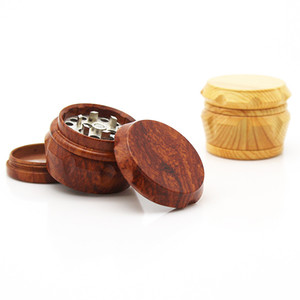 Imitated Wooden Herb Grinder 3 Sizes Diamond Cut Blades Tobacco Grinders Dia 40MM 50MM 63MM Manual 4 Layers Smoke Grinders Z603