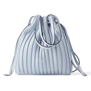 New Blue Drawstring Handbag For Women Fashion Bucket Shoulder Bag 201130