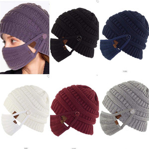 with Mask Button Knitted Winter Wool Hat Brands Designer Beanies Crochet Slouchy Skull Caps and Face Mask 2 Piece Set Knit Hats F120403
