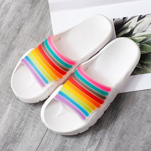 Hot Sale-Women Casual Cool Slippers Female Rainbow Personality Female Beach Shoes Flip Flop Non-slip Bathroom Slides Sandals Q-303