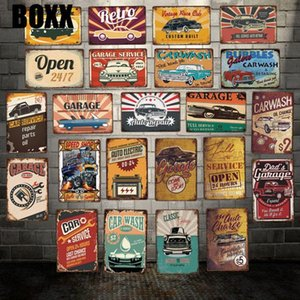 Garage Open Car Wash Metal Plaque Wall Tin SignsPosters art Vintage Painting Personality Custom Decor