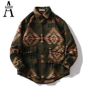 Chemise à manches longues à manches longues Ajzhy Hiver Patchwork épais de Streetwear Hip Hop Shirt pour homme Harajuku rétro vêtements coréens J1217