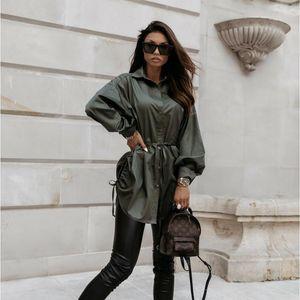 Women Drawstring Fashion Blouse Oversize Streetwear Long Sleeve Turn Down Collar Tops 2020 Office Lady Belt Shirts