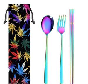 Conjuntos de cubiertos de acero inoxidable Chopsticks Cuchillas de cuchillo Pajas Limpieza Cepillo de limpieza Colorido Portátil Portátil Reutilizable Set de vajilla IIA173 JLLLGJLR