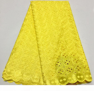 Newest Nigerian Yellow African Lace Fabric High Quality For Men Women Cotton Dry Lace Fabric Swiss Voile Lace In Switzerland