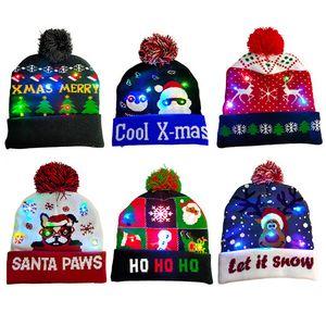 DHL Shipping New Adult Christmas Hat Pom Beanie Winter Soft Warm Knitted Pompom LED Light Caps Xmas Gift Kimter-X875FZ