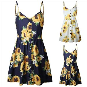 womens summer sundress Women Sexy Sling Sleeveless V Neck Sunflower Print Button Princess Dress Vestidos Charming Clothing