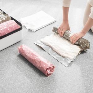 2pc mano rodante compresión bolsa de vacío frontera plegable plegable comprimido ropa de hogar bolsa de almacenamiento plástico bolsa de sello ahorro de espacio W0620