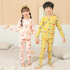 Children's Autumn Clothes Long Trousers Lycra Cotton Baby Thermal Underwear Set Pure Cotton Pajamas Home Service Two-piece Suit