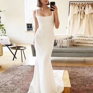 Vintage Ivory Boho Wedding Dresses Square Neck Mermaid Soft Stain Long Train Bride Gowns Backless Sleeveless Simple Cheap Marriage Dress