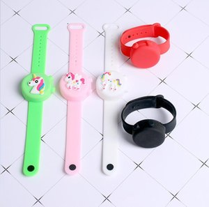 2pcs set Hand Sanitizer Dispenser Bottle Silicone Wrist Bracelet Portable Cartoon Dinosaur Degerming Wristband Bangles with Bottle G10802