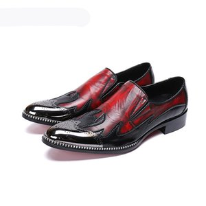 Luxury Men Dress Shoes Metal Tip Toe Wine Red Formal Business Leather Shoes Men Wedding and Party Zapatos Hombre