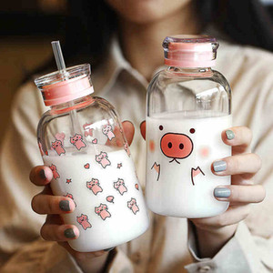 New 450ML Kawaii Pig Glass Water Bottle With Straw Cartoon Fashion Cute Drinking Water Bottles For Kids Girl Student Water Cup LJ200821
