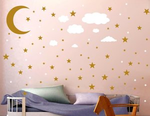 Gold, silver, stars, the Moon, clouds, wall paste children's room children romantic warm room decoration wall paste a set of 3