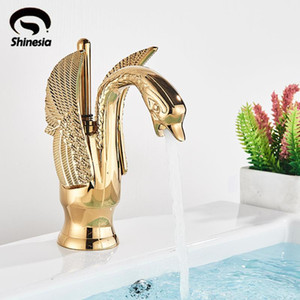 Shinesia Golden Swan Basin Faucet for Bathroom Vessel Sink Hot and Cold Water Nordic Luxury Mixer Tap 12 Types