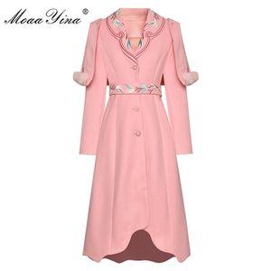 MoaaYina Fashion Designer Woolen coat Winter Women Long sleeve Embroidery Elegant Keep warm cloak Overcoat Y1112