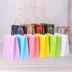 Bolsas de papel de regalo Surtido de baja de neón de colores con manijas favor del partido del papel Kraft bolsos de fiesta de cumpleaños boda Bolsa de AHD3029