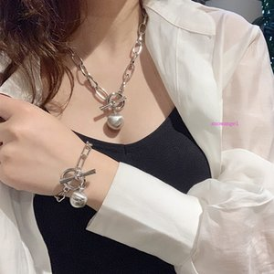 European and American Cold Light Metal Ball Necklace Thick Chain Ball Pendant Personality Temperament Clavicle Chain Jewelry