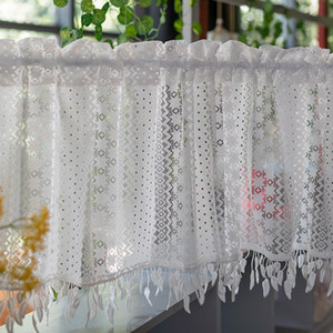 White Half Curtain Embroidered Korean Coffee Yarn Pure Short Curtain With Tassel For Bar Kitchen Cabinet Door Children's Room