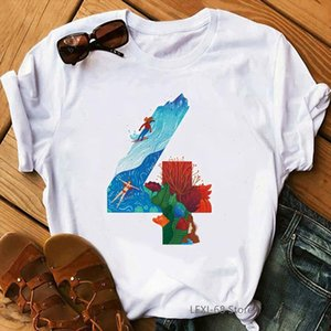 Cool Surfing Print Tshirts Women Number 4 T Shirt Femme Vogue The Letter Shirt Camisetas Mujer Aesthetic Clothes T Female