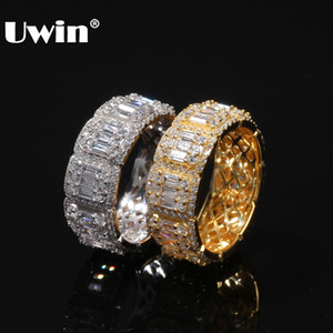 Uwin 8mm / 10mm Baguette Anello cluster Full Bling Bling Cubic Zirconia Mens Donne Anelli Hiphop Adatti Moda Argento Colore Gioielli Y1124