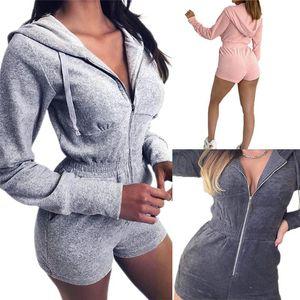 Mulheres gostosas macacão de cor sólida manga comprida hoodie zipper cordão lado bolsos casuais esportes jogging romper playsuit com capuz