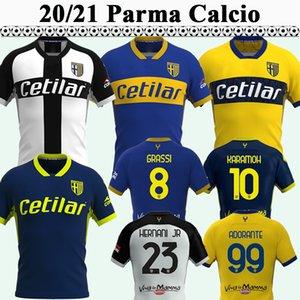 20 21 Parme Calcio Cornelius Mens Soccer Jerseys Hernani Jr Gervinho Grassi Inglese Adorante Home Home Blanc Bleu Bleu 3ème Shirt de football