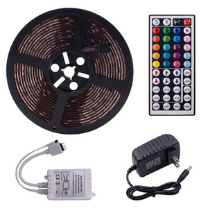 12V Plastic 150-LED 5050RGB IR44 Light Strip Set with IR Remote Controller 24W White Lamp for Indoor Outdoor Decor