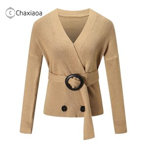 Chaxiaoa 2020 Automne Femmes Pulls Femmes Col V-Col V à double boutonnage Pull en tricot Solide Couleur Slim Sashes Fashion Sweaters X400