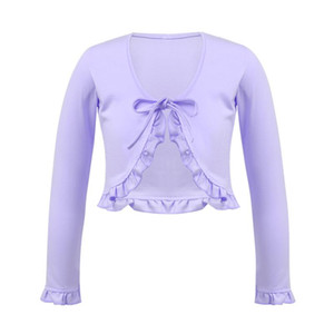 New Fashion Girl Ballet Gymnastic Leotard Jacket Long Sleeved Dance Sweater Coat Kids Dancing Clothing Ruffle Lace Warm Top