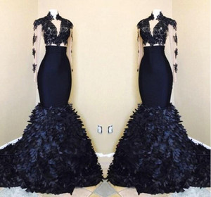 2021 Black Girls Gorgeous Mermaid Long Sleeves Prom Dresses African High Neck Evening Gowns With Layers Ruffle Skirts BA8173