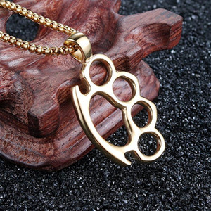 necklace mens stainless steel silver Knuckles pendant custom jewelry on the neck 2020 chains necklaces gold best fitness hip hop1