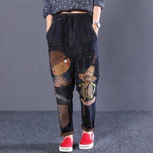 Harajuku Bordado National Wind Hole Jeans Impresión de dibujos animados Jeans Elástico Cintura Harem Pantalones Radish Denim Harem Pants Plus Tamaño A1112