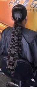 Jet Negro Real Hair Long Longy Sleek 100% Humano Pelo Ponytail Deep Wave Mujer Extensión de Pelo Extensión Clip de cordón de 140 g