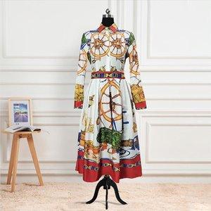 Women Print A Line Dresses Hight Waist Office Ladies Elegant Fashion Modest Work Wear Pleat Three Quater Sleeves Female Vestidos