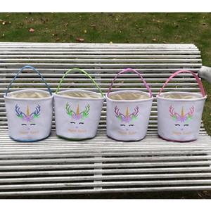 Ostern Glitter Unicorn Basket Kids Ei Süßigkeiten Handtasche Barrel Bucket Bunny Taschen Plüsch Cartoon Leinwand Einkaufstasche C LLA129