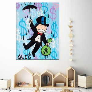 Hand Painted Painting On Canvas Graffiti Canvas Painting Wall Art Alec Monopoly Paintings Umbrella Modern Modular Dollar Decor