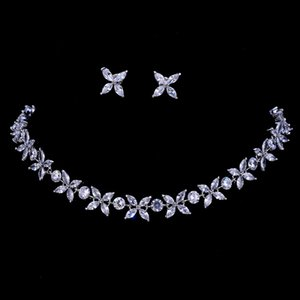 Emmaya Zircons Stunning Crystal Necklace and Earrings Luxury Bridal Party Jewelry Set For Wedding Evening Gift Z1201