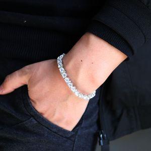 Round Cut mens Tennis Bracelet Zirconia Triple Lock Hiphop Jewelry Cubic Luxury Crystal CZ Men classic Charm Bracelets gift