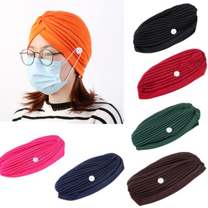 Women Button Muslim India Turban Cap with Button Hair Loss Cancer Chemo Hat Ear Protection Solid Color Beanie Headwrap